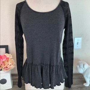 Free People/ We The Free Peplum Long Sleeve Size M